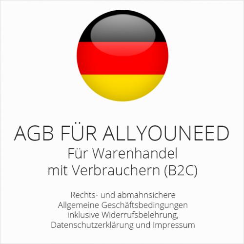 Abmahnsichere AGB für Allyouneed inklusive Update-Service. Monatlich kündbar.