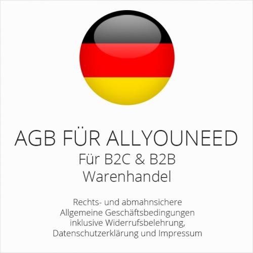 Abmahnsichere AGB für allyouneed B2C & B2B