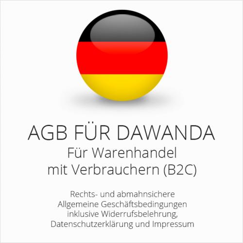Abmahnsichere AGB für DaWanda inkl. Update Service. Jederzeit monatlich kündbar.