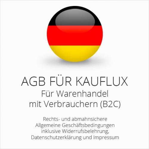 Abmahnsichere AGB für Kauflux inklusive Update-Service. Jederzeit monatlich kündbar.