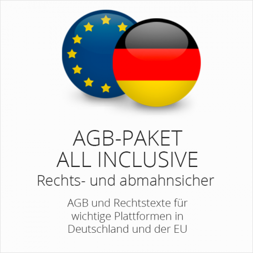 Das AGB-Paket All Inclusive für insgesamt 34 Handelsplattformen in Deutschland und der EU