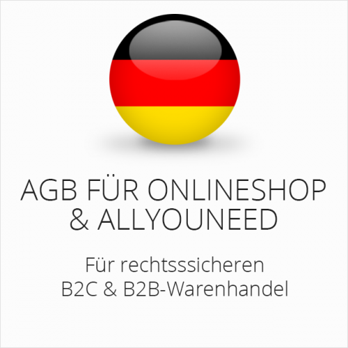 Rechtssichere AGB für Onlineshop & Allyouneed B2C & B2B