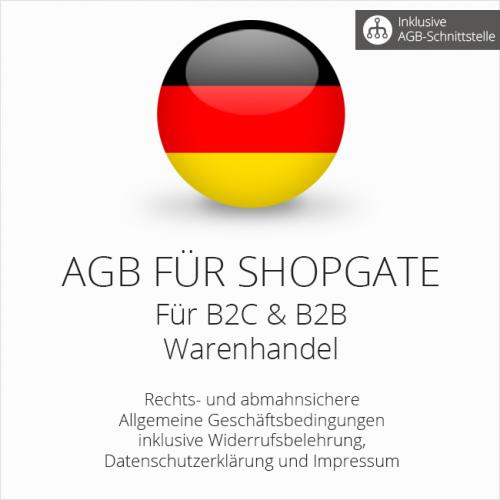 Abmahnsichere AGB für Shopgate B2C & B2B mit AGB-Schnittstelle